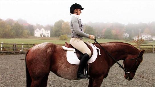 Девушка скачет на тренажерном коне секс