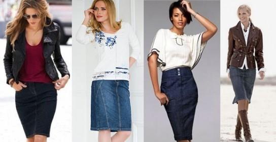 С чем носить джинсовую юбку  модные советы 69b41f21f72