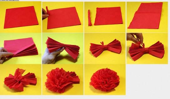 Как сделать из салфеток цветы своими руками легкие