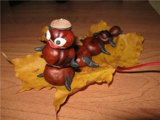 Поделки из каштанов своими руками на тему осень пошагово