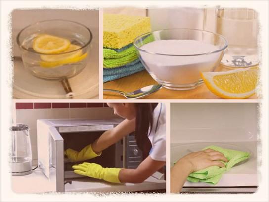 Как быстро очистить микроволновку внутри в домашних условиях