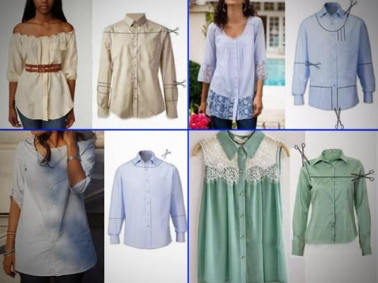 f63b41a4f1b Обновление рубашки. Превратить строгую мужскую рубашку в романтическую  легкую блуза ...